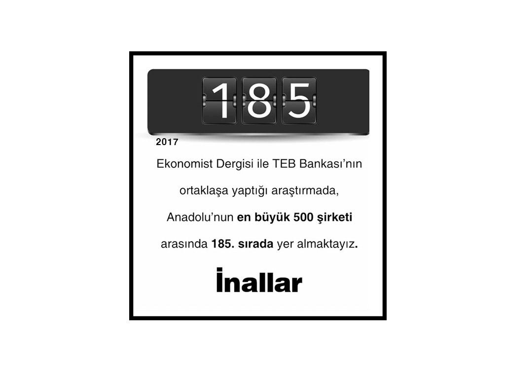 Anadolu'nun En Büyük 500 Şirketi Arasında 185. Sırada Yer Aldık.